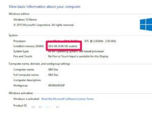 Check RAM Memory on Windows 10