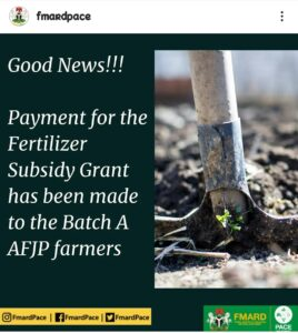 AFJP Fertilizer Subsidy Grant: Payment Has Been Made To Batch A AFJP Farmers - FMARD